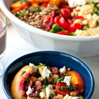 Bountiful Summer Salad and Blueberry Balsamic Dressing in a bowl