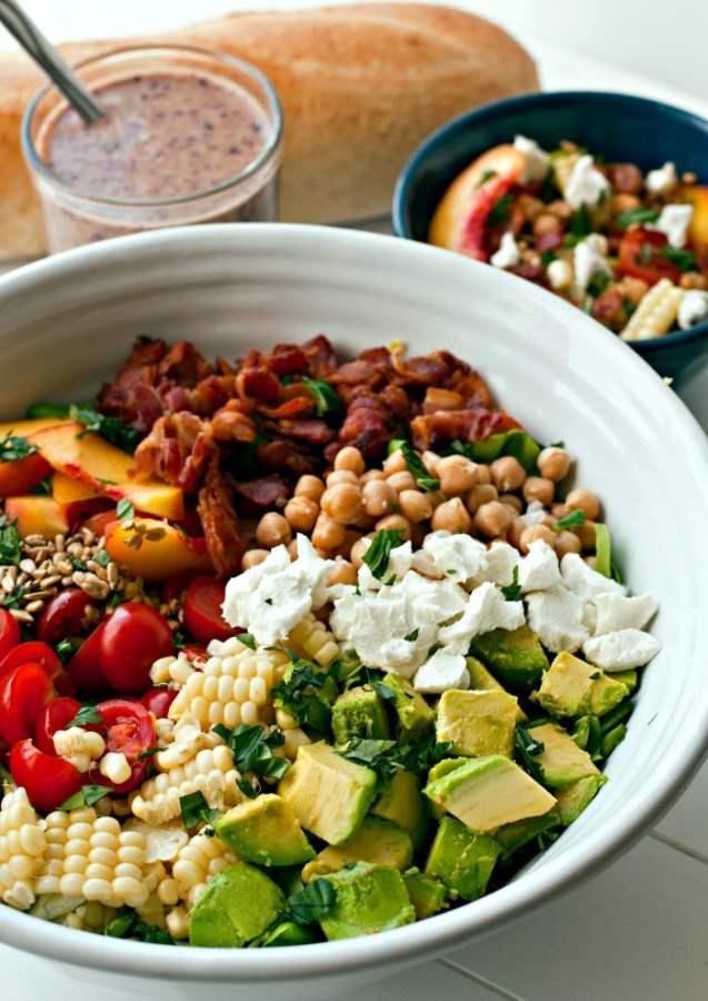 Summer Salad in a big white serving bowl.