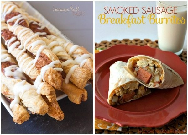 Breakfast recipe photos in a collage format with text overlay for Pinterest