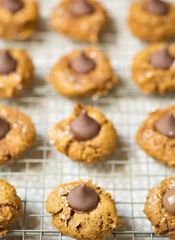 Quick and Easy Four Ingredient Pumpkin Blossom Cookies on a wire rack.