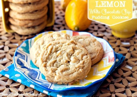 Lemon White Chocolate Pudding Cookies on a colorful plate.