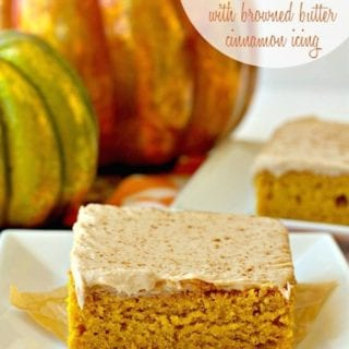 A slice of Pumpkin Sheet Cake with browned butter cinnamon icing on a plate with text overlay for Pinterest