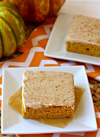 Two slices of Pumpkin Sheet Cake on plates