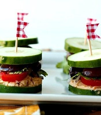 Greek Inspired Cucumber sliders on a plate