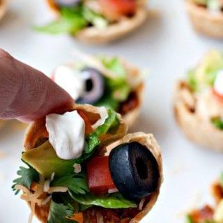 A close-up of Taco Salad mini bites