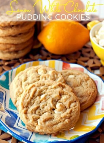 A plate of Lemon White Chocolate Pudding Cookies
