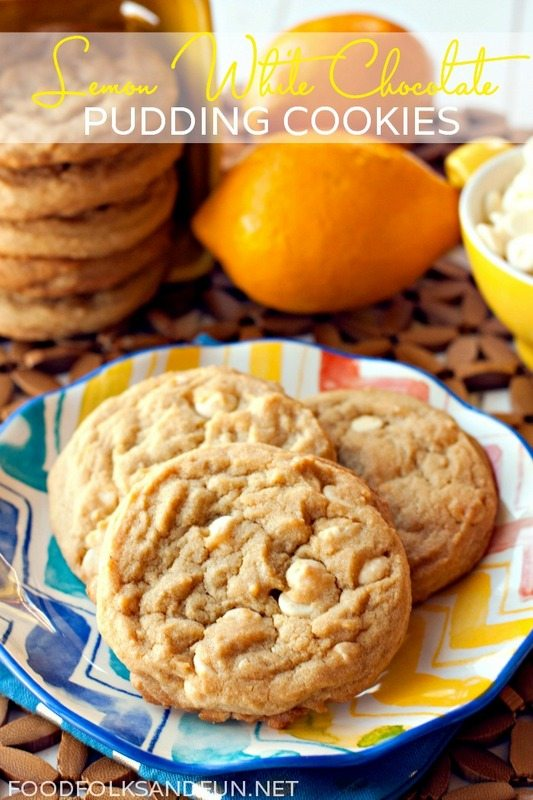This Lemon White Chocolate Pudding Cookies recipe has delicious zesty lemon flavor and they're studded with creamy white chocolate chips. via @foodfolksandfun