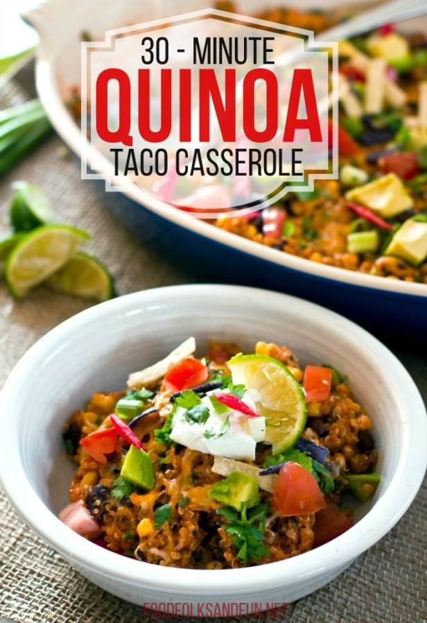 This 30-Minute Quinoa Taco Casserole is a delicious dinner that the entire family loves! Not only is it quick and easy, but it's budget-friendly, too! via @foodfolksandfun