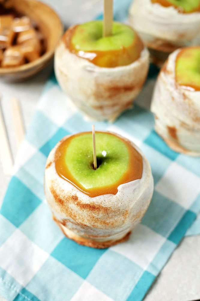 Close up of caramel apple.