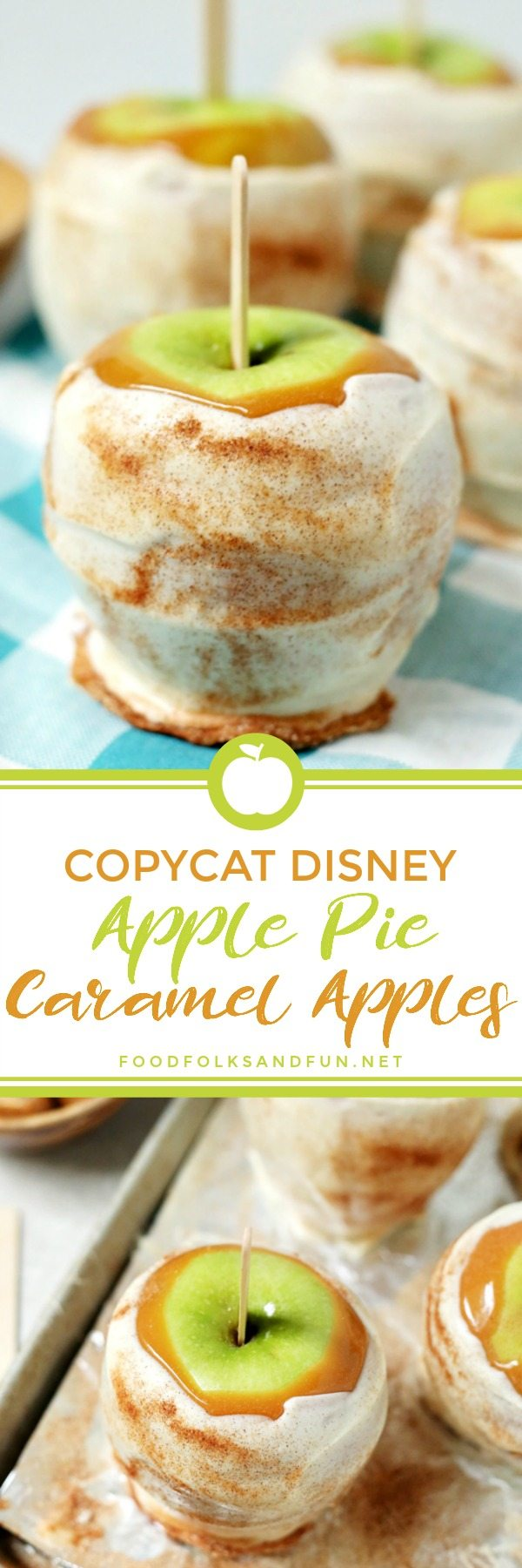 These Copycat Disney Apple Pie Caramel Apples tastes just like the ones at Disneyland! They're covered with sticky caramel, dipped in white chocolate, and sprinkled with cinnamon sugar! via @foodfolksandfun