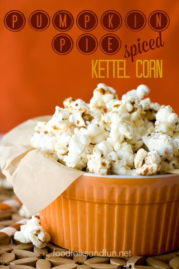 Pumpkin Pie Spice Popcorn with text overlay for Pinterest