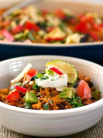 30-minute quinoa taco casserole in a bowl