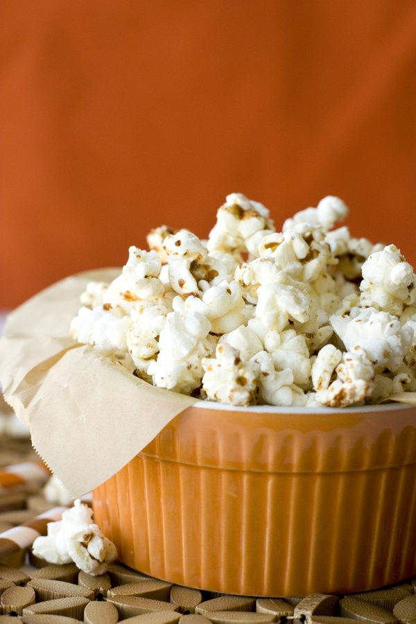 A close-up of Pumpkin Pie Spice Kettle corn in a small bowl