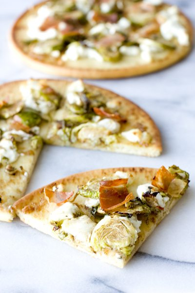 Brussels Sprouts Flatbread with Prosciutto and Goat Cheese