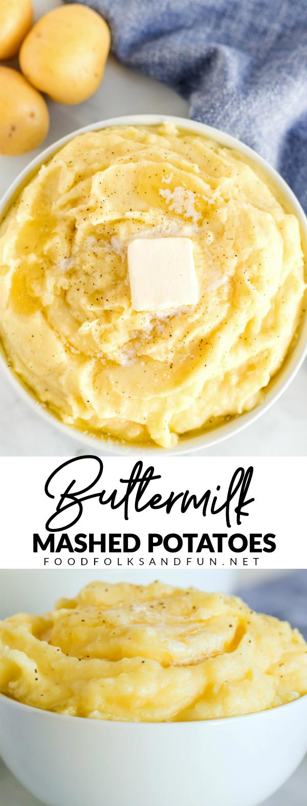 This Buttermilk Mashed Potatoes recipe is a quick and easy Thanksgiving side dish. The buttermilk makes these potatoes creamy, a little tangy, and so irresistible!  via @foodfolksandfun