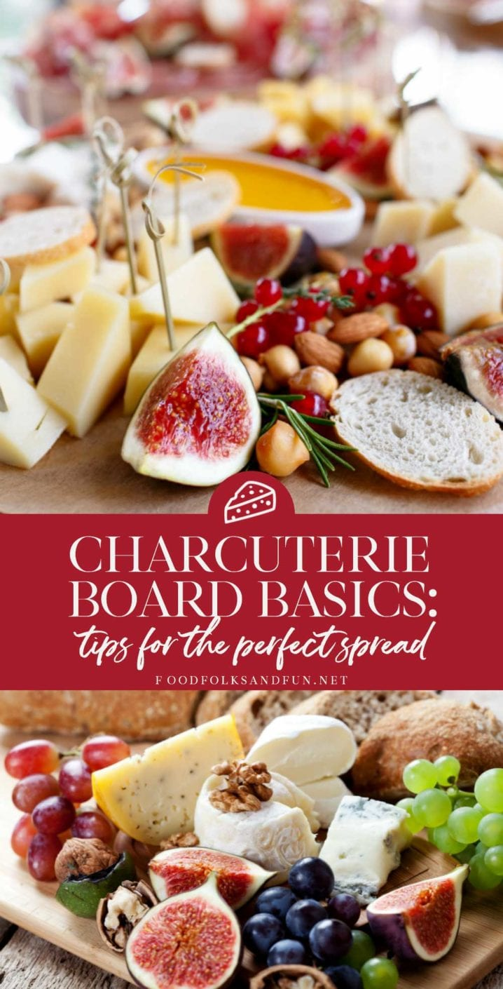 Picture collage of charcuterie for Pinterest.