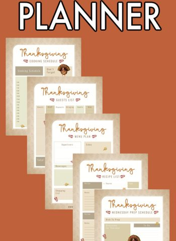 A picture collage of the Thanksgiving Planner with text overlay for Pinterest.