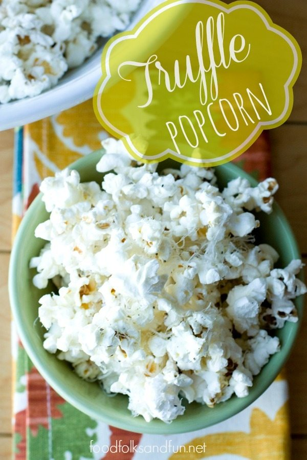 Truffle Popcorn with Parmesan is an easy and decadent snack or appetizer that's great for movie nights and for a Thanksgiving appetizer. via @foodfolksandfun