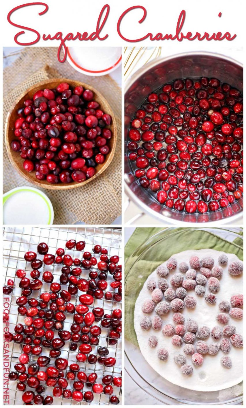 A picture collage of how to make sugared cranberries.