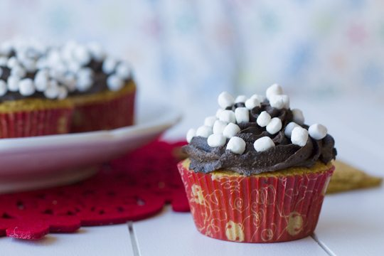 S'more Cupcakes in holiday cupcake wrappers.