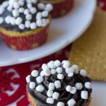 Smore cupcakes on a plate with mini marshmallows on top