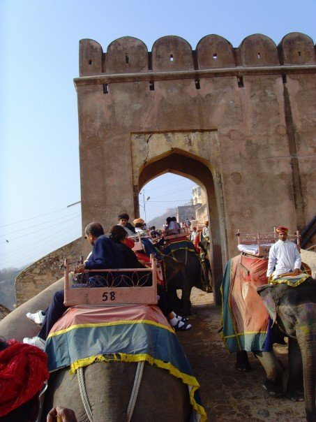 Elephant ride up to Amber Fort.