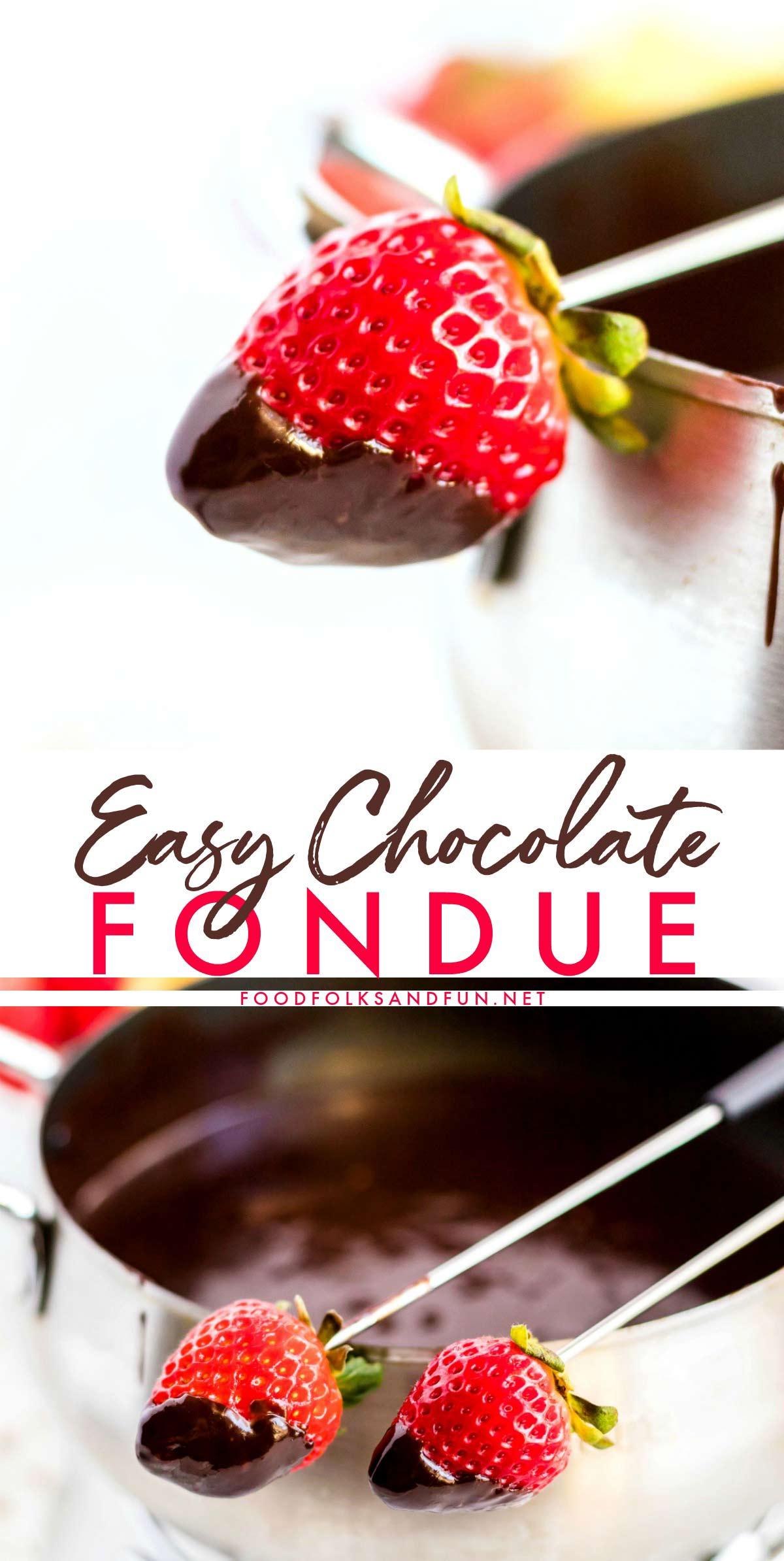 Velvety Chocolate Fondue recipe via @foodfolksandfun