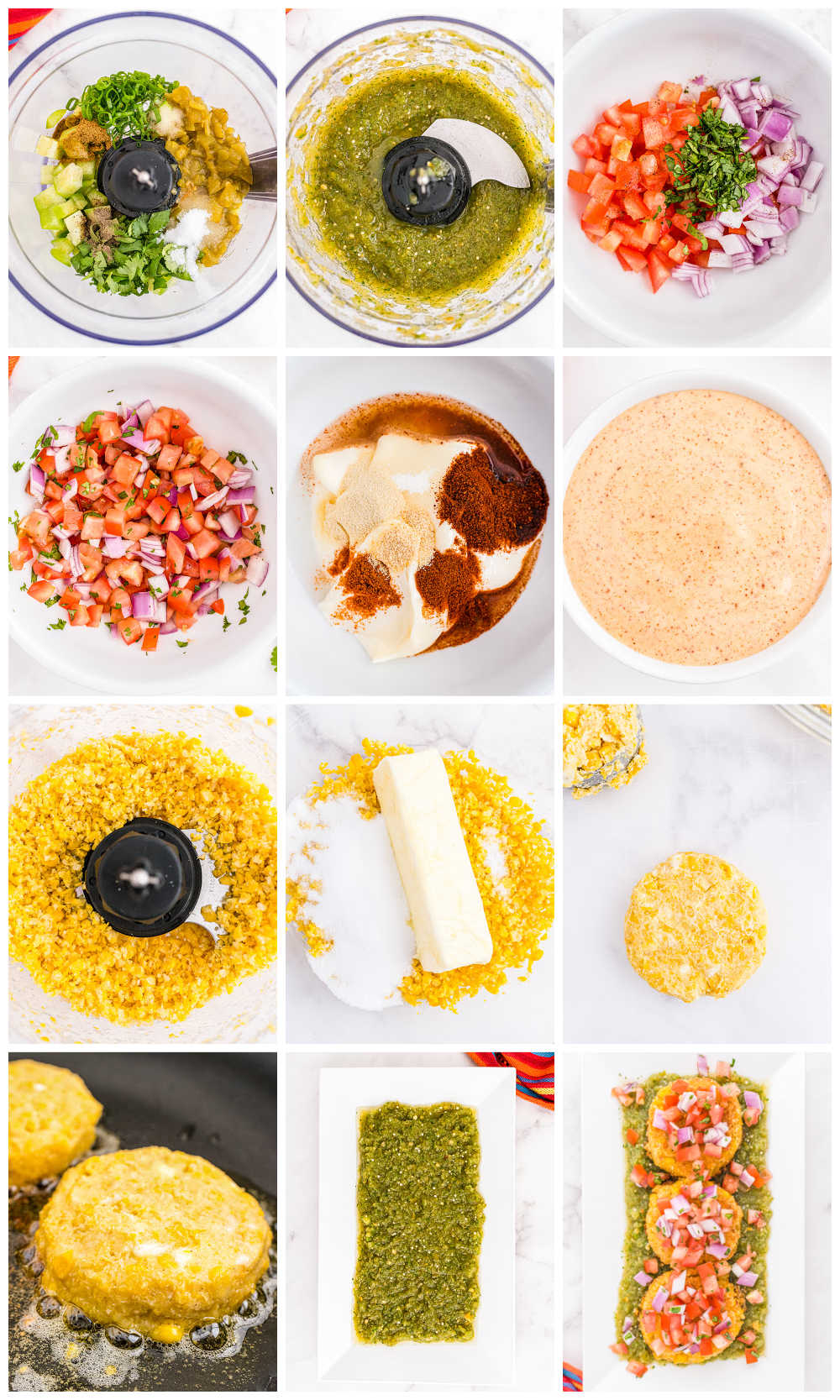 A picture collage of how to make copycat Sweet Corn Tamale Cakes.