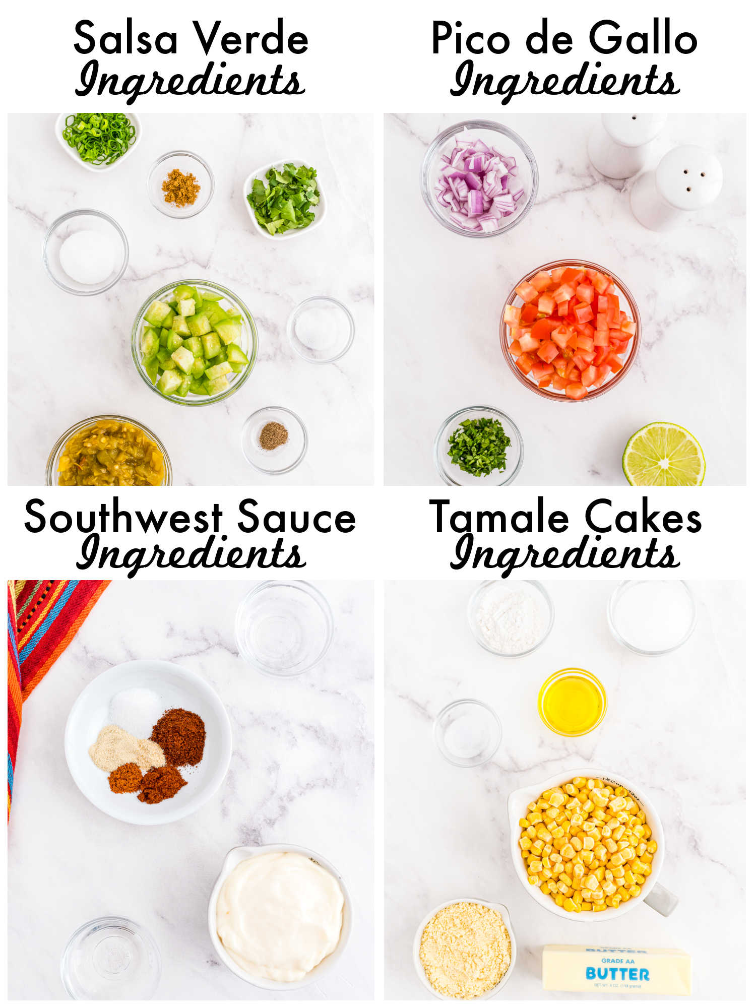All of the ingredients needed to make this Sweet Corn Tamale Cakes recipe.