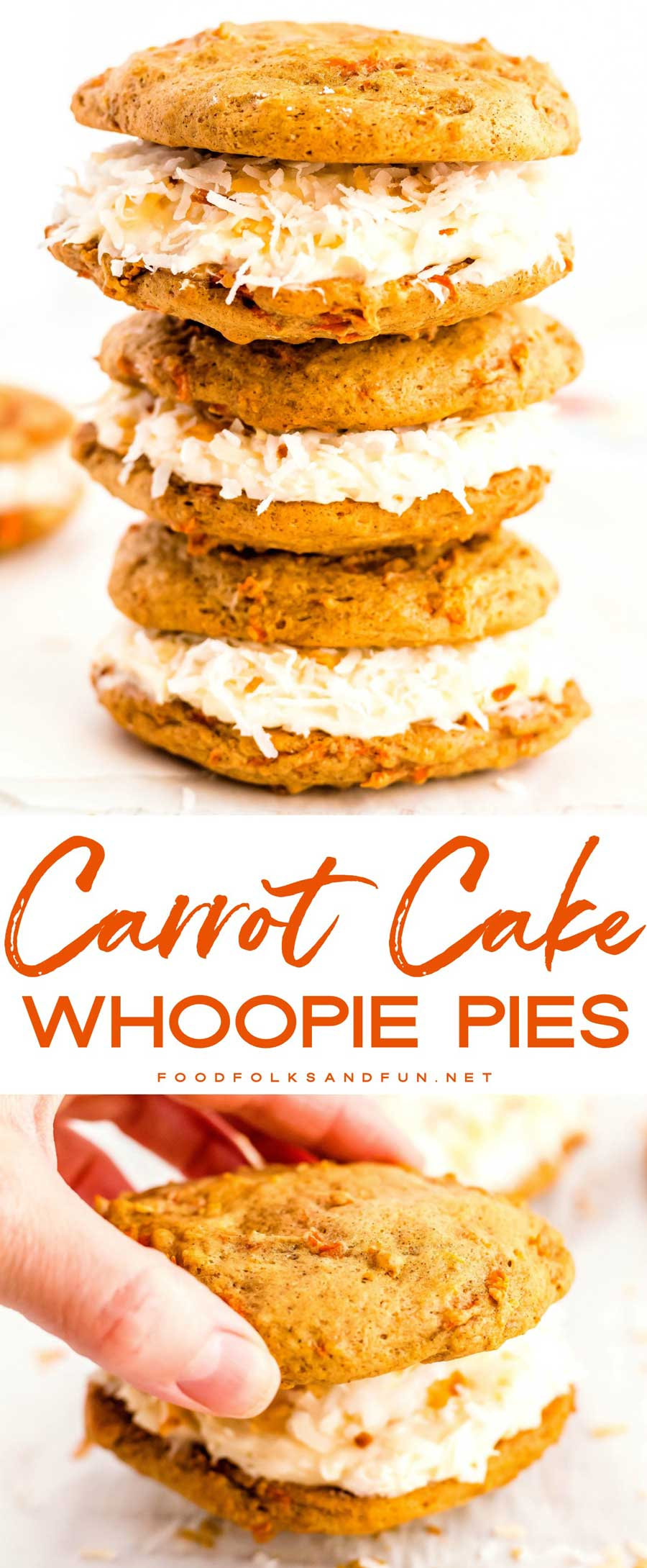 This Carrot Cake Whoopie Pies recipe is the perfect dessert for spring. It's everything you love about carrot cake but more compact. It's a little bit cookie, it's a little bit cake, and it's a whole lot of deliciousness! #dessert #dessertrecipe #Easter #EasterRecipe #Spring #SpringRecipe #foodfolksandfun via @foodfolksandfun