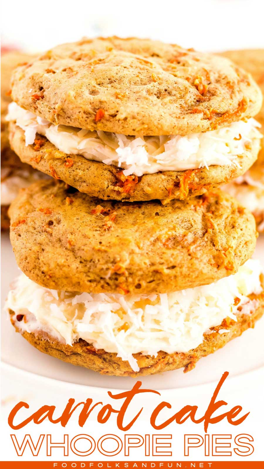 Carrot Cake Whoopie Pies with Coconut Cream Cheese Frosting