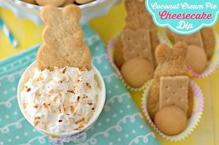 Coconut Cream Pie Cheesecake Dip in a bowl with wafers to dip