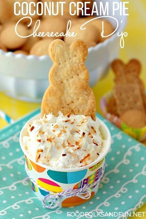 Coconut Cream Pie Cheesecake Dip Recipe via @foodfolksandfun