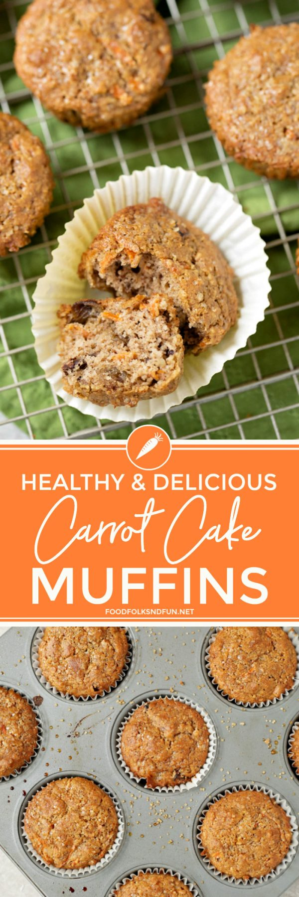 Amazing and Delicious Carrot Muffins via @foodfolksandfun