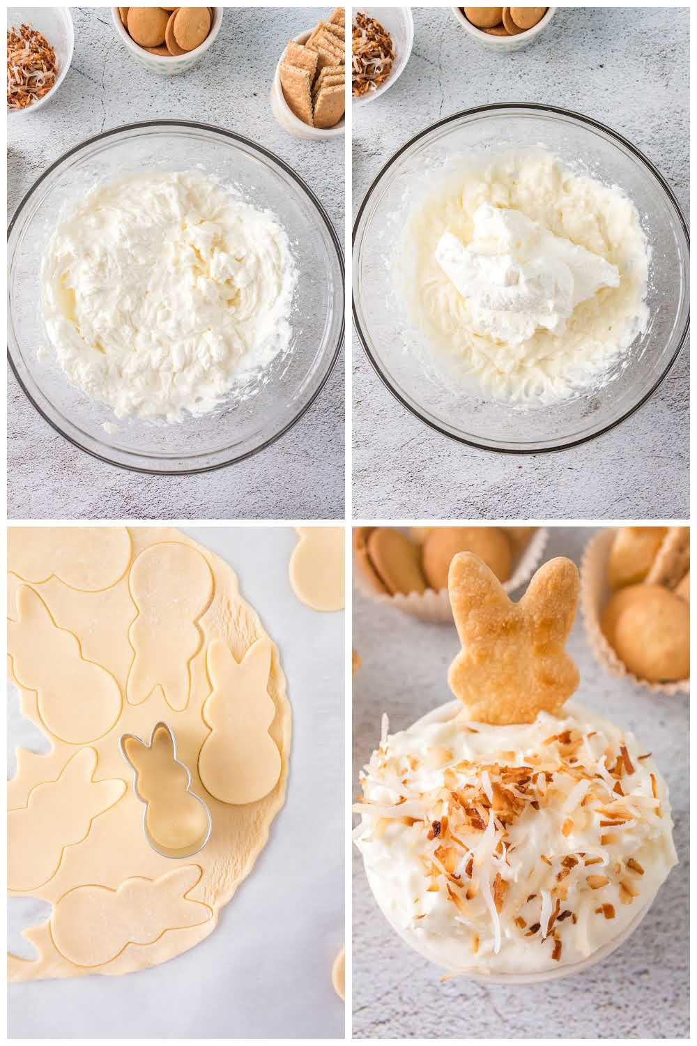 A picture collage of how to make Coconut Cream Pie Cheesecake Dip recipe.