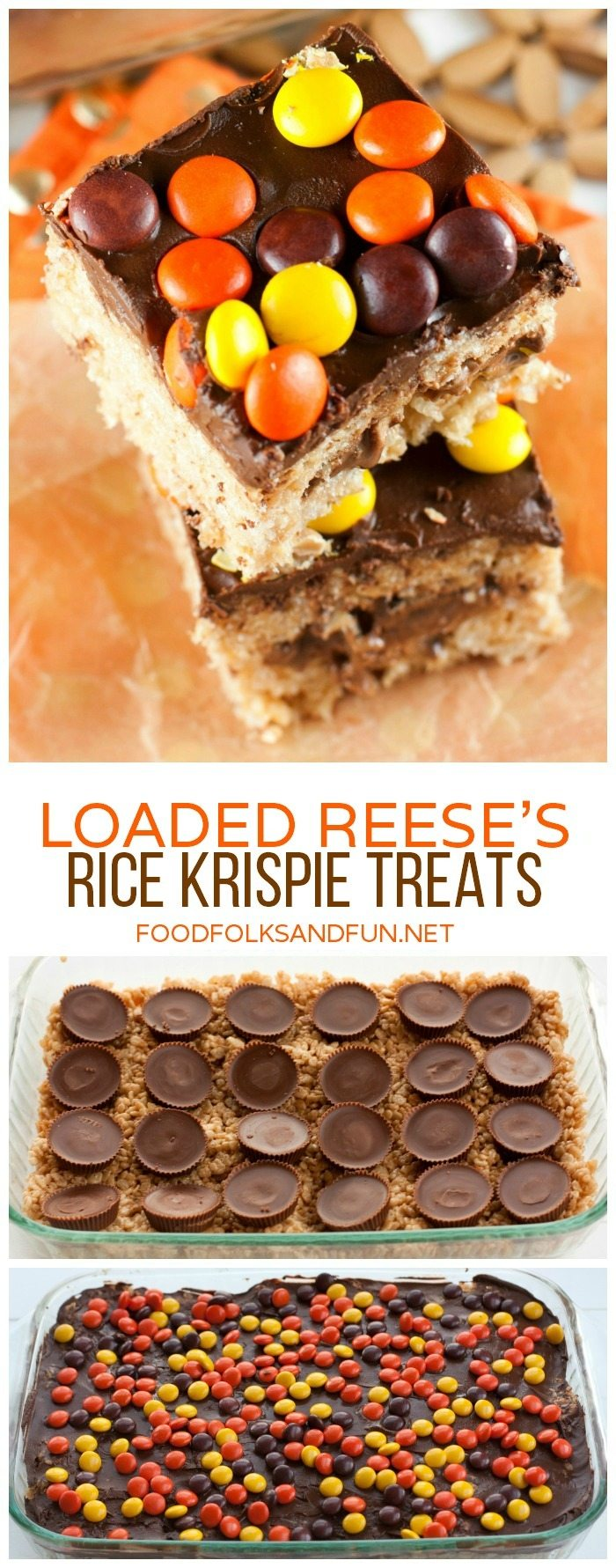 Loaded Reese's Rice Krispie Treats stacked on top of each other and in the pan.