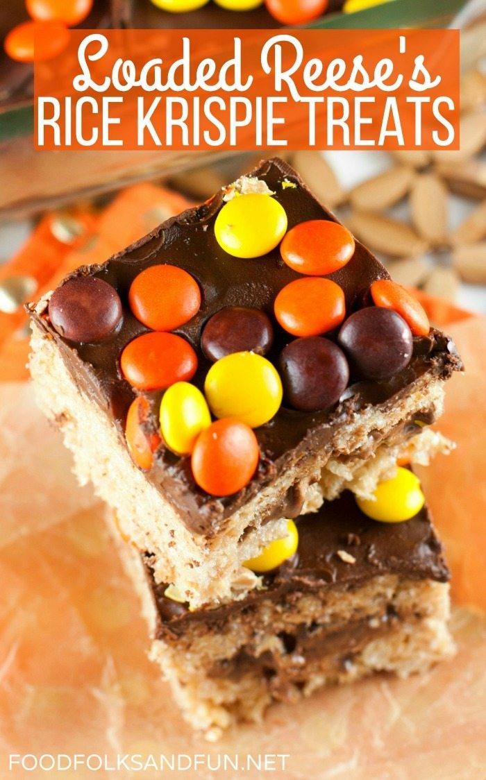 These Reese's Rice Krispie Treats are loaded with Peanut Butter Cups and Pieces. They're the perfect treat for chocolate and peanut butter lovers! via @foodfolksandfun
