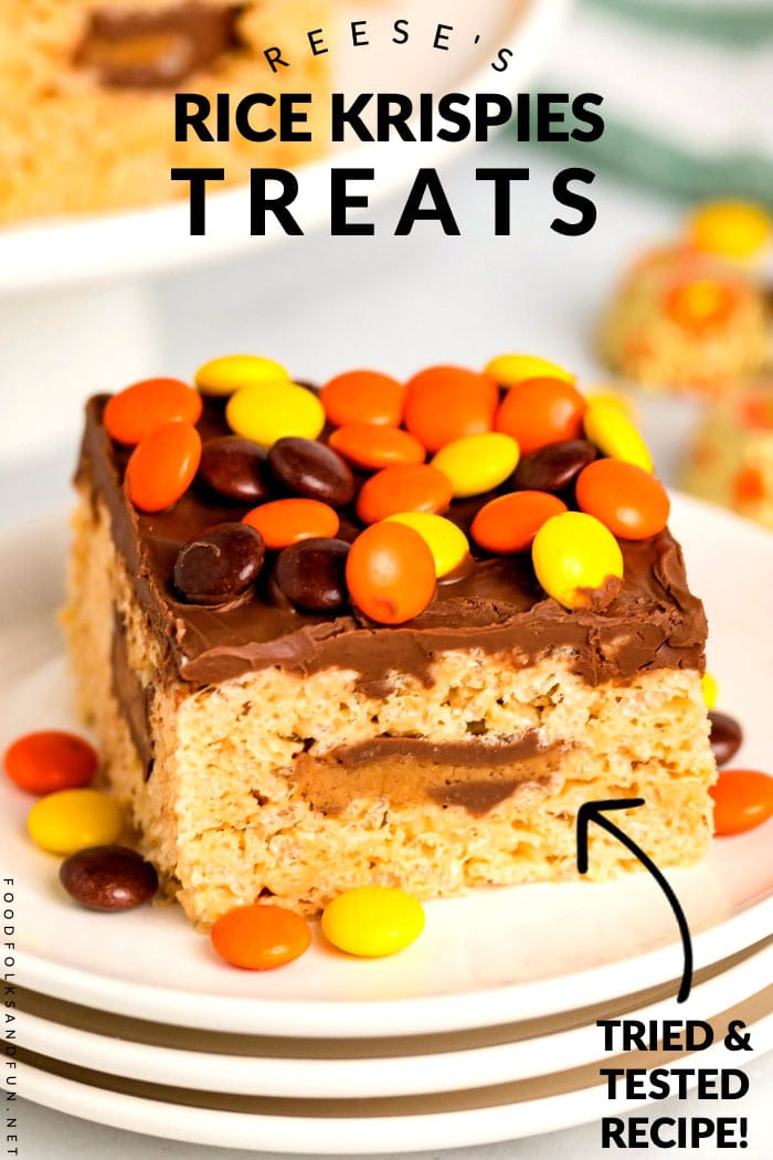 These Reese's Rice Krispie Treats are loaded with peanut butter cups and Reese's pieces. Chocolate and peanut butter lovers will go crazy for these!  via @foodfolksandfun