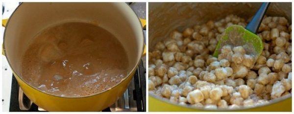 Melt the butter and peanut butter and add the marshmallows.