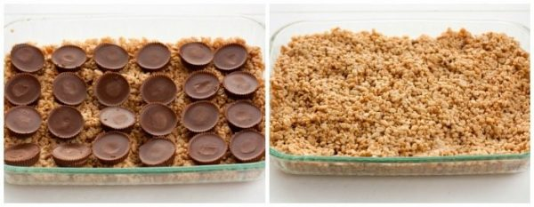 Add half of the rice krispies mixture and top with peanut butter cups.