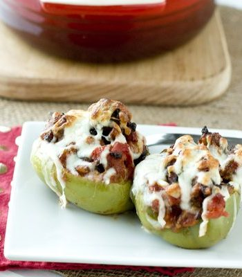 Two Sausage and Peppers Stuffed Peppers on a plate