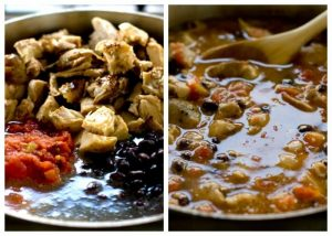Process shots for how to make One Pot Chicken Burrito Bowls