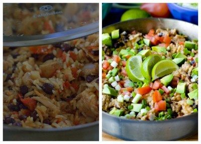 Finished process shots of one pot Chicken Burrito Bowls