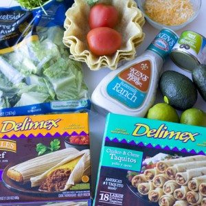 Ingredients needed for making taquito and tamale taco salad