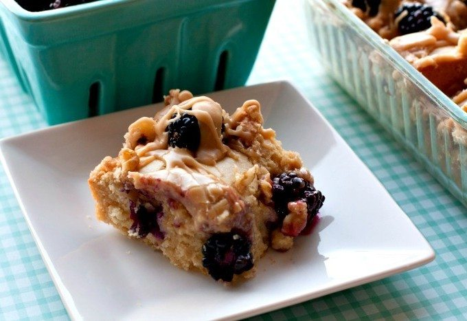 Snack Cake Recipe with Blackberries and Caramel Drizzle