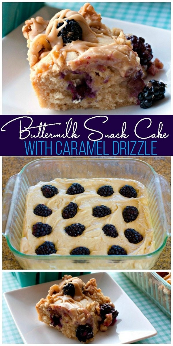 Buttermilk Snack Cake Recipe with Blackberries and Caramel Drizzle