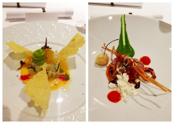 A collage of the 2nd and 3rd-course meals on a Carnival cruise