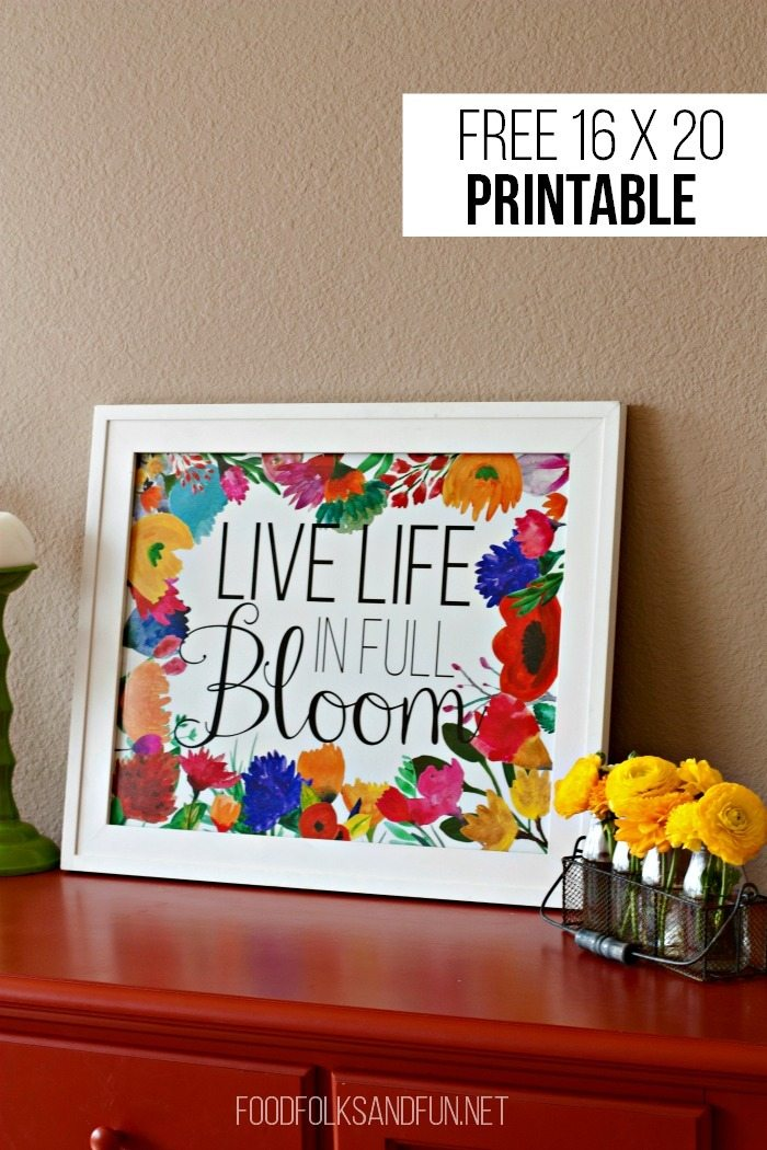 FREE Spring Printable - Live Life in Full Bloom