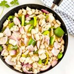 Stovetop Chicken Souvlaki in a skillet