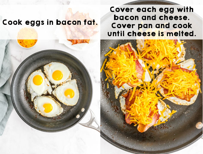 Eggs, bacon, and cheese being cooked in a skillet.